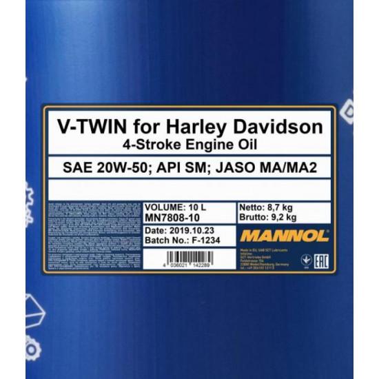 MANNOL 7808 V-TWIN For Harley Davidson 20W-50 10L